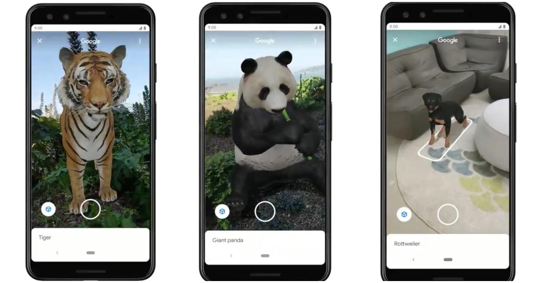 Animales virtuales en realidad aumentada Google