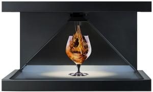 Holograma 3D de una copa con alcohol